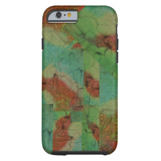 Turquoise green and brown mosaic pattern tough iPhone 6 case