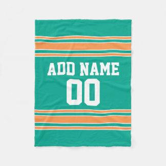 Turquoise Green and Orange Custom Sports Jersey Fleece Blanket