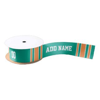 Turquoise Green and Orange Custom Sports Jersey Satin Ribbon
