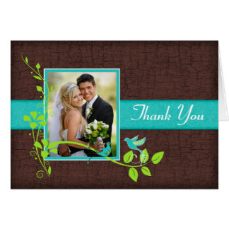 Turquoise Green Brown Crackle Photo Thank You Card
