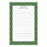 turquoise green circles customised stationery