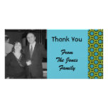 turquoise green circles customized photo card
