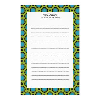 turquoise green circles stationery