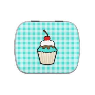 Turquoise Green Cupcake Candy Tin
