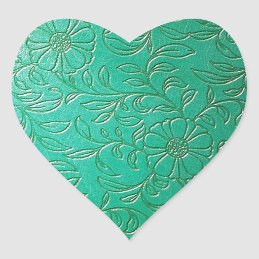 Turquoise Green Floral Etched Leather products Sticker