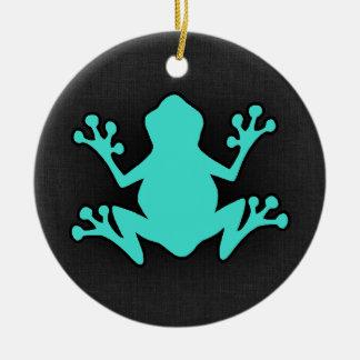 Turquoise Green Frog Round Ceramic Decoration
