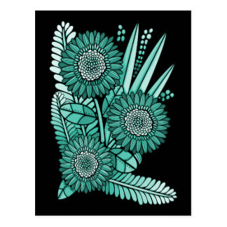Turquoise Green Gerbera Daisy Flower Bouquet Postcard