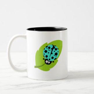 Turquoise Green Ladybug Two-Tone Coffee Mug