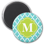 Turquoise & Green Modern Moroccan Custom Monogram Fridge Magnets
