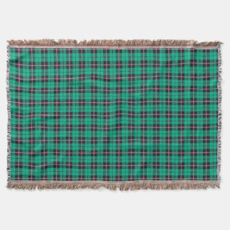 Turquoise green plaid print, black pink stripe throw blanket