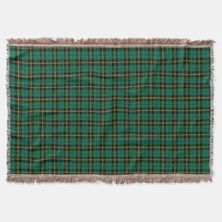 Turquoise green plaid print, black yellow stripe throw blanket
