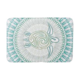 Turquoise Green Turtle Mandala Bath Mat