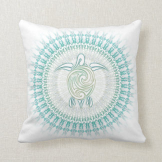 Turquoise Green Turtle Mandala Cushion