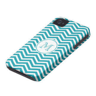 Turquoise Green & White Chevron Pattern iPhone 4 Case-Mate Case
