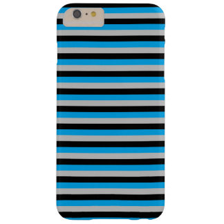 Turquoise, Grey and Black Stripes Barely There iPhone 6 Plus Case
