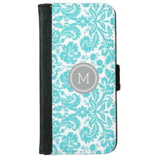 Turquoise Grey Damask Pattern Monogram iPhone 6 Wallet Case