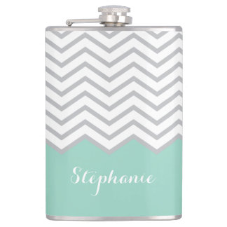 Turquoise Grey Gray Chevron Custom Name Hip Flask