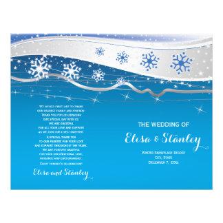 Turquoise, grey snowflakes folded wedding program 21.5 cm x 28 cm flyer