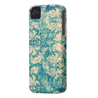 Turquoise Grunge Vintage Damask III iPhone 4 Case