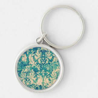 Turquoise Grunge Vintage Damask Keychain Silver-Colored Round Keychain