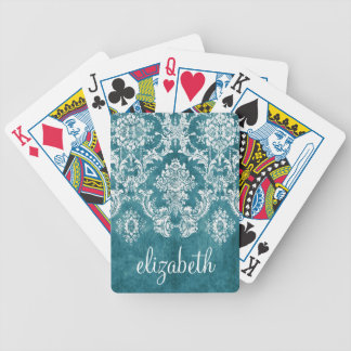 Turquoise Grungy Damask Pattern Custom Text Bicycle Playing Cards