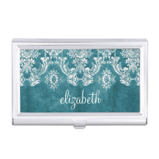 Turquoise Grungy Damask Pattern Custom Text Business Card Holder