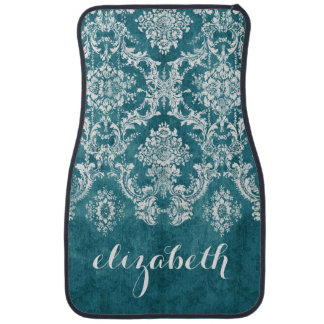 Turquoise Grungy Damask Pattern Custom Text Car Mat
