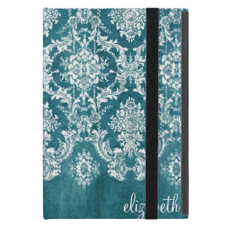 Turquoise Grungy Damask Pattern Custom Text Case For iPad Mini