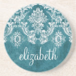 Turquoise Grungy Damask Pattern Custom Text Coaster