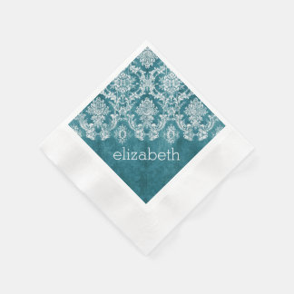 Turquoise Grungy Damask Pattern Custom Text Disposable Serviettes