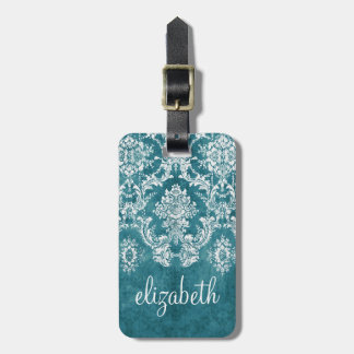 Turquoise Grungy Damask Pattern Custom Text Luggage Tag