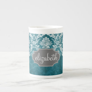 Turquoise Grungy Damask Pattern Custom Text Tea Cup