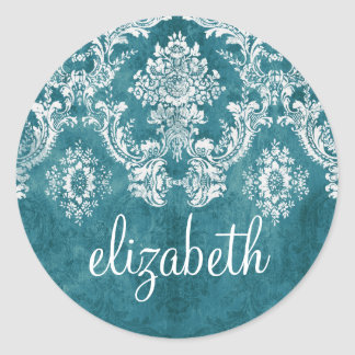 Turquoise Grungy Damask Pattern Custom Text Round Sticker