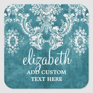 Turquoise Grungy Damask Pattern Custom Text Square Sticker