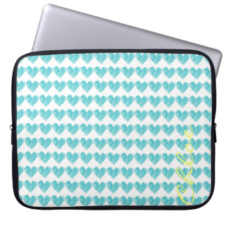 turquoise hand drawn hearts with name laptop sleeves
