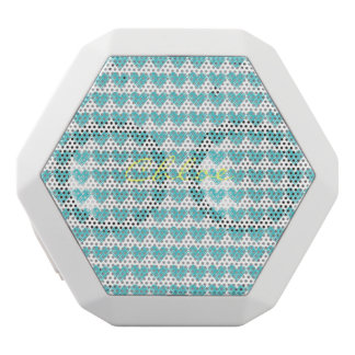 turquoise hand drawn hearts with name white bluetooth speaker