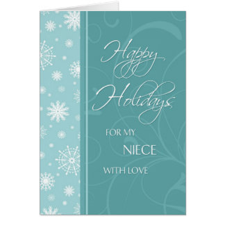 Turquoise Happy Holidays Niece Christmas Card