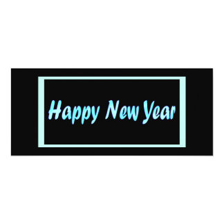 turquoise happy new year 10 cm x 24 cm invitation card