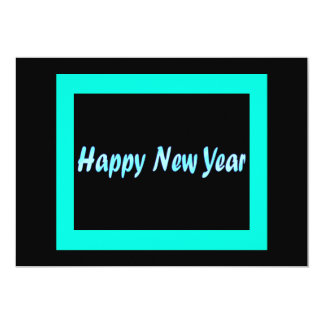 turquoise happy new year 13 cm x 18 cm invitation card