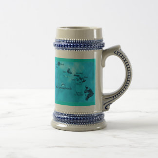 Turquoise Hawaiian island map mug Beer Stein