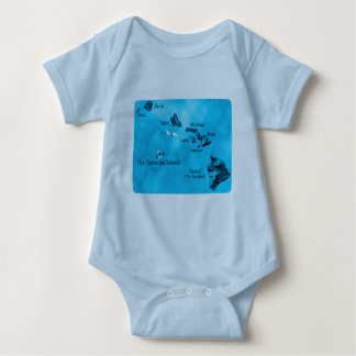 Turquoise Hawaiian island map shirt
