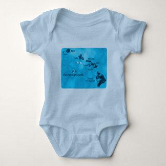Turquoise Hawaiian island map shirt