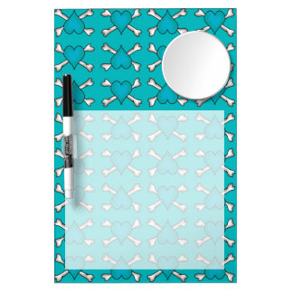 Turquoise Heart and Crossbones Pattern Dry Erase Board With Mirror