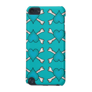 Turquoise Heart and Crossbones Pattern iPod Touch (5th Generation) Case