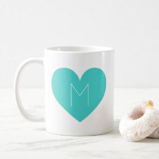 Turquoise Heart Contemporary Monogram Mug