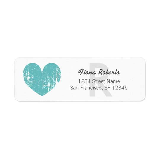 Turquoise heart monogram Return Address Labels