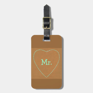 Turquoise Heart on Brown Mr. Luggage Tags