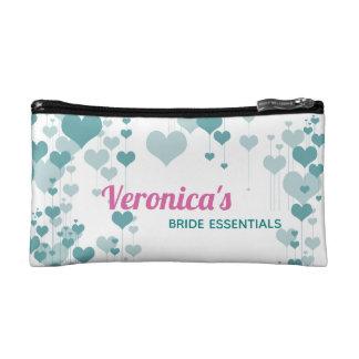 Turquoise Hearts Bride Essentials Makeup Bag