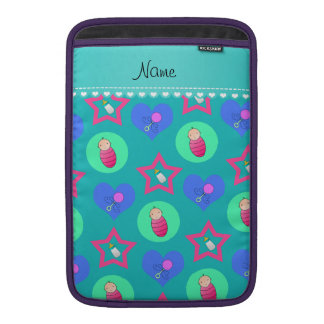 Turquoise hearts dots stars baby rattle bottle sleeves for MacBook air