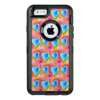 Turquoise hearts on pink background phone case